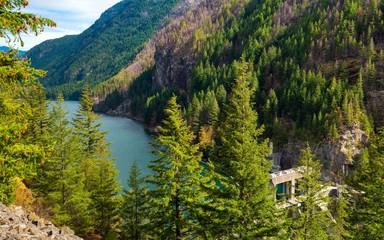 Gorge Lake behind Gorge Dam in North Cascades National Park, Washington