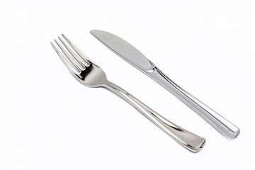 Cutlery set with Fork, Knife and Spoon isolated on white backgro