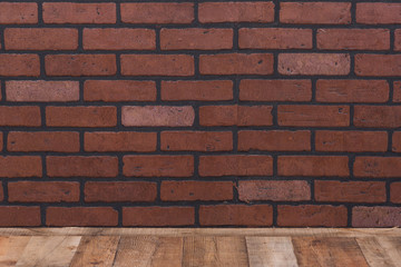 Brick wall background with wooden floor for backdrop