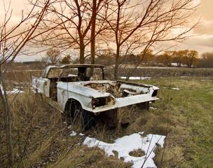 Antique White Abadoned Car