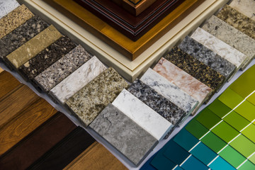 Kitchen remodeling material selection of cabinet doors, countertops, hardwood floor and paint color