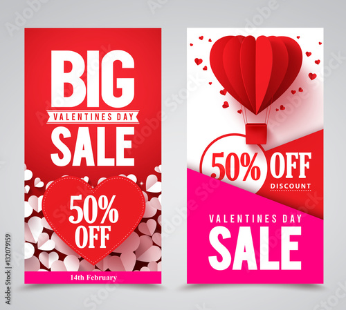 Valentines day sale vector poster designs and web banners with red ...