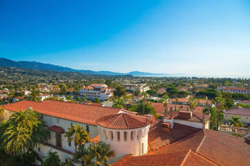 Santa Barbara, Califoania - Court House Buildings, Orange Roofs