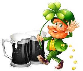 Leprechaun and black beer