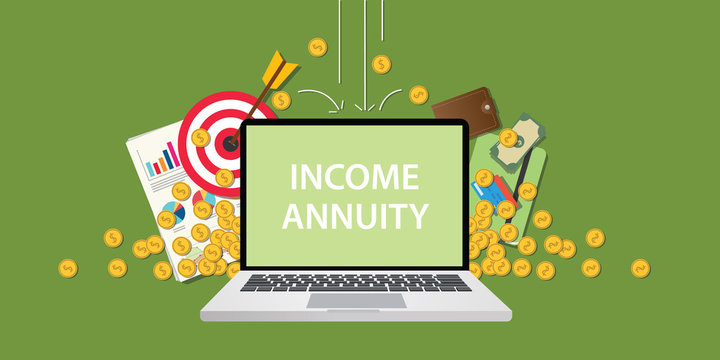 income annuity illustration with text on laptop display with business icon money gold coin falling from sky and graph paperwork document and goals