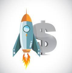 dollar rocket currency concept
