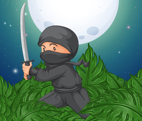 Ninja holding sword in the bush