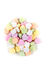 Blank valentine candy hearts isolated on a white background