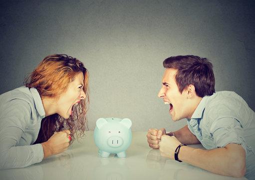 Finances in divorce concept. Wife husband can not make settlement