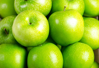 Close-up apple background.Green apple fruit.