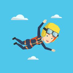 Caucasian parachutist jumping with parachute.