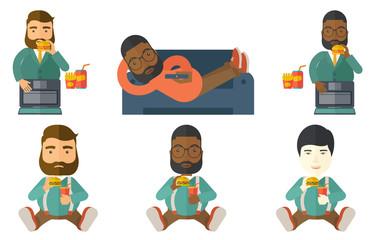 Businessman eating hamburger vector illustration.