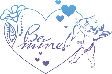 """Cupid with bow hunting for hearts. Color gradient frame with Cupid, roses, hearts and artistic written text """"Be mine!"""". Raster clip art."""