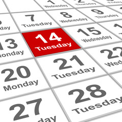 Tuesday 14 Valentine day on planning calendar