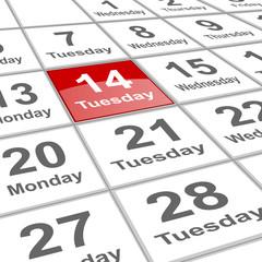 Tuesday 14 Valentine day on planning calendar