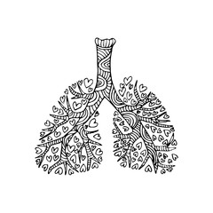 Lungs. Doodle drawing of human organ.