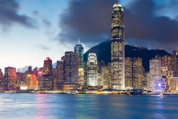 Hong Kong city office building night view from Kowlon Island