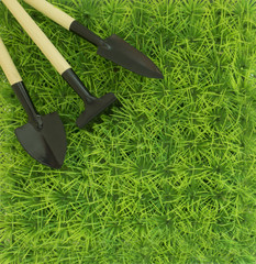 Background on the farming and the garden with a rake and shovel