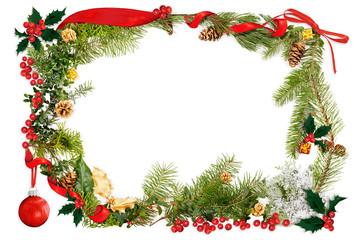 Christmas foliage & ribbon frame