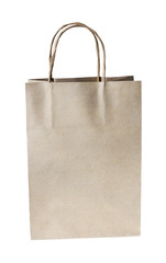 Paper brown shopping bag isolated on white background with clipp