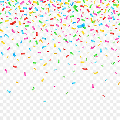 Falling confetti isolated on checkered background. celebration party holiday decoration