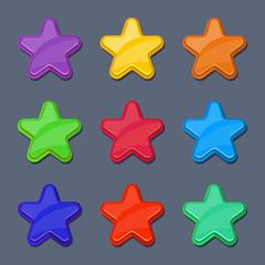 Vector cartoon color glossy stars, shiny buttons