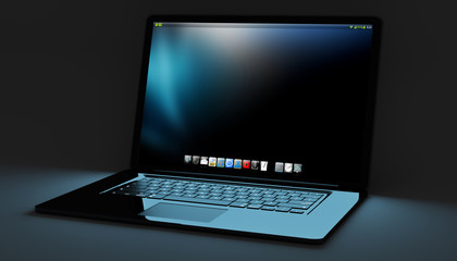 Modern black laptop on black background 3D rendering