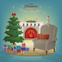 Merry Christmas and New Year interior with fireplace, Christmas tree, armchair, boxes with gifts, candles, socks, decorations, cat, stars. Waiting for the Noel New Year and Xmas. Vector