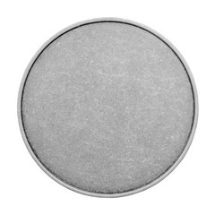 Blank templates for coins or medals with metal texture. Silver.