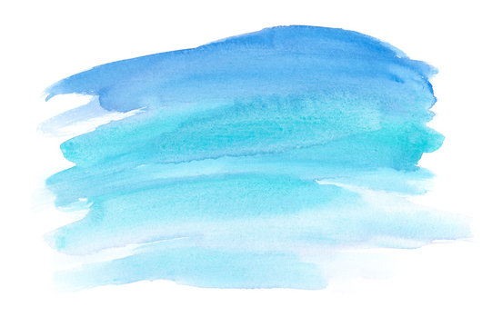 Abstract ocean blue brush strokes painted in watercolor on clean white background