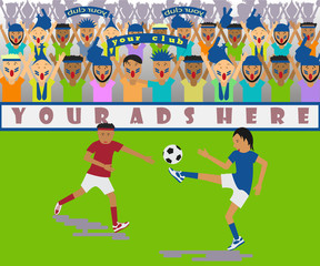 Illustration of a soccer match in a flat design style. Vector eps10