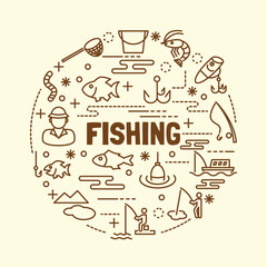 fishing minimal thin line icons set