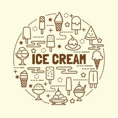 ice cream minimal thin line icons set