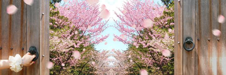 桜のバナー 春へ