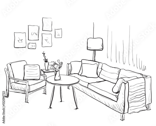 Interior Design Line Art Vector : Quot room interior sketch hand drawn sofa and furniture