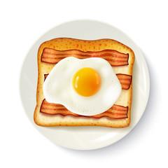 Breakfast Sandwich Top View Realistic Image
