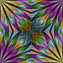 Multicolored floral pattern in stained-glass window style. You c