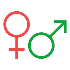 Male and female icon - glyph style - Red