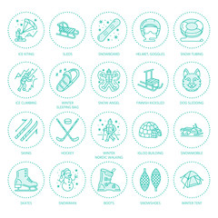 Ski, snowboard, skates, tubing, ice kiting, climbing and other winter sport line icons. Outdoor activity thin linear pictogram such as camping, igloo building, snow angel making. Equipment rent signs.