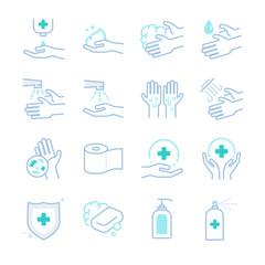 Hygiene and sanitation icons set