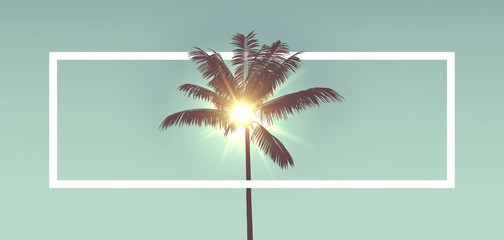 Foto op Textielframe Palm boom Tropical palm tree silhouette against sunlight. With white frame