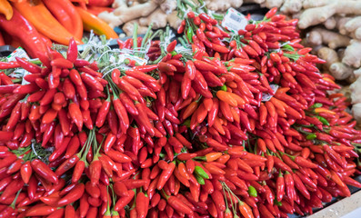 Colorful paprika for sale at central market in Budapest, Hungary