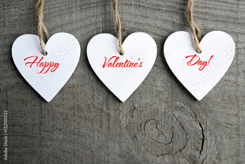 Happy Valentines Day Background Decorative White Wooden Hearts On Grey Rustic With Copy