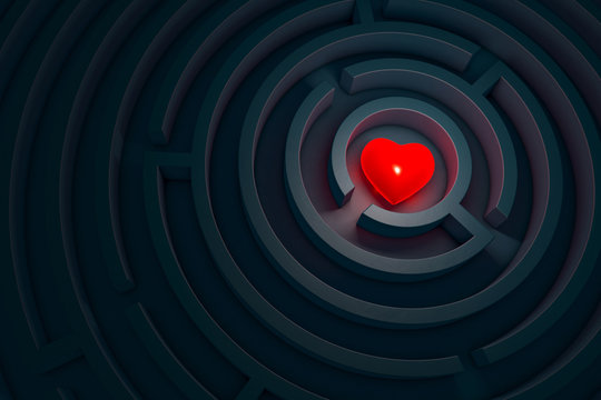 Heart in the dark labyrinth, 3d illustration.