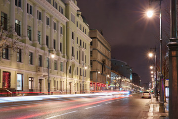 Moscow car tracers and lamp row along avenue in winter tonight