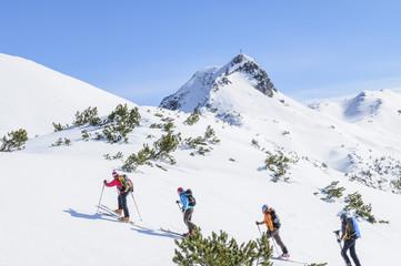 eine Gruppe Wintersportler beim Skibergsteigen