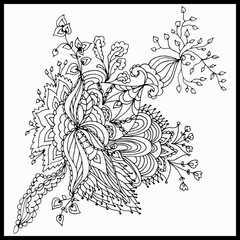 Beautiful Abstract Floral Design Coloring Book Anti Stress For Adults Vector Illustration Black