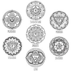 9 mandalas style mihendi symbolizing chakras