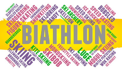Biathlon. Word cloud, colored font, white background. Olympics.