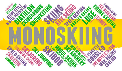 Monoskiing. Word cloud, colored font, white background. Olympics.